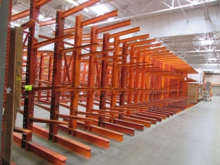 """33"""" sections of cantilever lumber gondola/wall racking, 51"""" x 12' (Total: 112"""" x 12')"""
