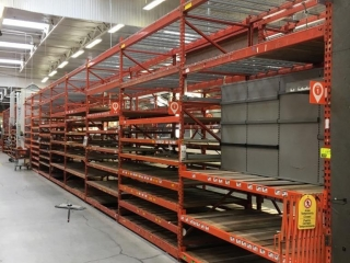 """99"""" sections of Interlake teardrop pallet racking with wood decking, 3' x 12'"""
