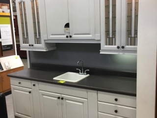 Premier Kensington kitchen cabinets, white with laminated countertop