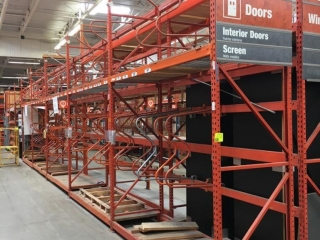 """(7) 108"""" and (1) 99"""" sections of Interlake teardrop pallet racking with wood decking, 3' x 16'"""