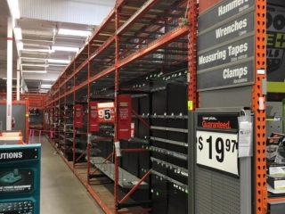 """(10) 99"""" and (1) 51"""" sections of Interlake teardrop warehouse racking with wood decking, 3' x 12'"""