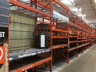 """99"""" sections of Interlake warehouse racking with metal wire and wood decking, 3' x 12'"""