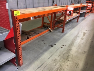 """99"""" sections of Interlake teardrop warehouse racking with wood decking, 2' x 4', 3-1/4"""" crossbars"""