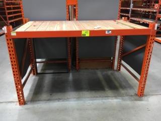 """75"""" x 42"""" x 48"""" Interlake orange warehouse racking with wood decking, 3-1/2"""" crossbar"""
