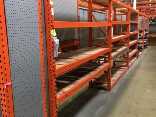 """99"""" sections of Interlake teardrop warehouse racking with wood decking, 2' x 8', 3-1/4"""" crossbars"""