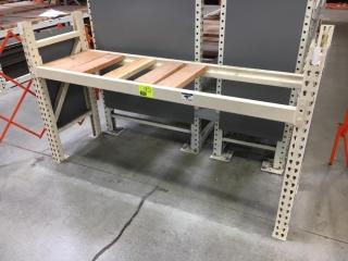 "75"" x 24"" x 48"" Interlake ivory warehouse racking with wood decking, 3-1/2"" crossbar"