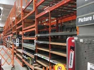 """99"""" sections of Interlake teardrop warehouse racking w/metal wire decking, 3' x 12' & 4' extension"""