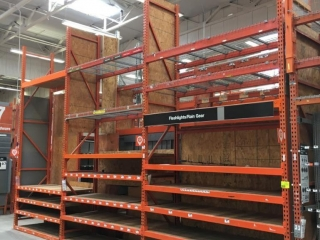 """99"""" sections of Interlake teardrop pallet racking with wood decking, 3' x 16', 3-1/4"""" crossbars"""
