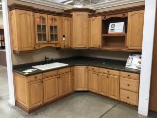 American Woodmark Ashland maple kitchen cabinet with granite countertop