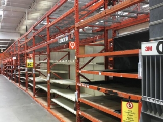 """99"""" sections of Interlake warehouse racking with wood decking, 3' x 12'"""