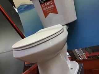 Glacier Bay dual flush toilet display