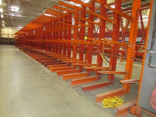 """33"""" sections of cantilever lumber wall racking, 51"""" x 12'"""
