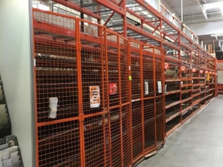 """99"""" sections of Interlake warehouse racking with metal wire decking, 2' x 12', 2-1/4"""" & 4"""" crossbars"""