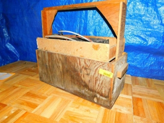 WOOD TOOL CADDY WITH CONTENTS