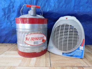 SMALL SPACE HEATER, OLD IRONSIDES 2 GALLON GALVIN ZED CAN
