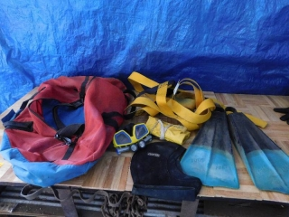 SCUBA GEAR, FLIPPERS, GOGGLES, HARNESS AND BELT