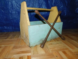 VINTAGE WOODEN TOOL BOX WITH HAMMERS, TIRE WRENCH, FUNNELS