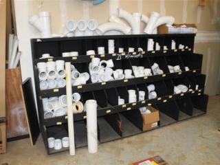Lot of misc PVC fittings w/ Rack