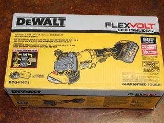 "(1) DeWalt FlexVolt Brushless 60V Max 4-1/2""-6"" Grinder Kit w/ Kickback Brake Model DCG414T1"