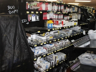 Lot of Misc Electrical Outlets, Electrical Outlet Covers, And Light Switches (Contents of Shelf)