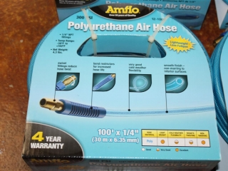 "(2) Amflo Polyurethane Air Hoses 100'x1/4"" Model 12-100E and (1) 100' Thermoid Red Air Hose"