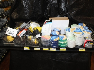 Lot of Electrical Plugs & Electrical Tape (Contents of Shelf)
