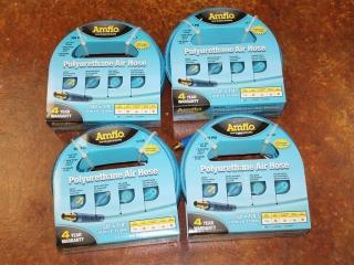 """(4) Amflo Polyurethane Air Hoses 100'x1/4"""" Model 12-100E"""