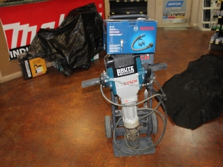 (1) Bosch Electric Jackhammer Model 3 611 C0A 011 (Hammer Bits Included) w/ Dolly and Demolition Dus