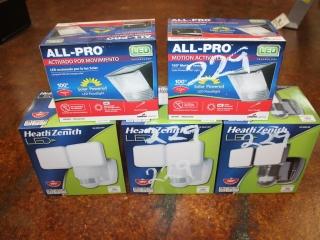 Lot of (3) Heath Zenith Led 1250 Lumens Floodlight & (2) All Pro Motion Sensor Solar Powered Led Flo