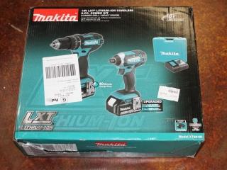 (1) Makita 18V LXT Lithium-Ion Cordless 2-Pc. Combo Kit (Hammer Drill/Impact Driver) Model XT261M