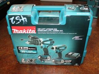 (1) Makita 18V LXT Lithium-Ion Cordless 2-Pc. Combo Kit Model XT218M
