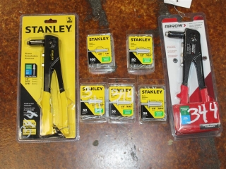 """Lot of Stanley 5/32"""", 3/16"""", and 1/8"""" Aluminum Rivets with (1) Stanley Riveter Model MR33 and (1) Ar"""