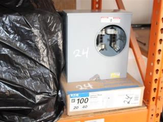 (1) 100 AMP Eaton 20 Space 40 Circuit Indoor Main Breaker. (1) Siemens Outdoor Circuit Meter