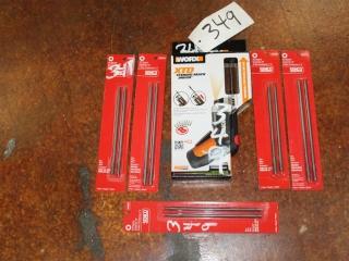 (1) WORX XTD Xtended Reach Driver Model WX252L, (5) Senco Drill Bits