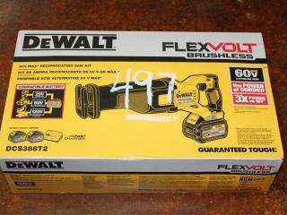 (1) DeWalt FlexVolt Brushless 60V Max Reciprocating Saw Kit Model DCS388T2