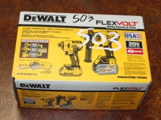(1) DeWalt FlexVolt Brushless 20V Max Hammerdrill/Impact Driver Combo Kit Model DCK299D1T1
