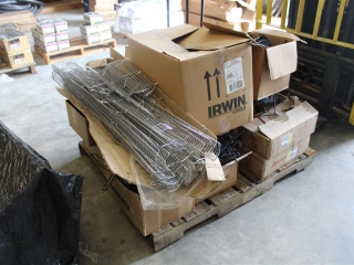 Pallet of Wire Racks and Display Hangers