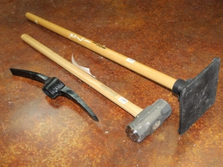 Lot of Sledgehammer, Pickaxe Head, and Hand Tamper