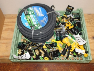 Lot of Misc Spray Nozzles, Connectors, and (2) Soaker Hoses