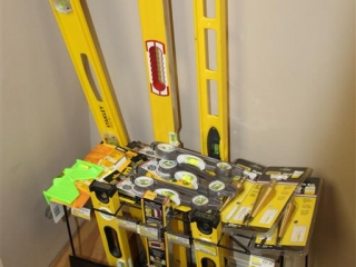 Lot of Stanley, Johnson, and General Levels W/ Stand