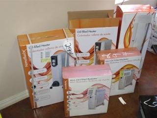(2) HomeBasix Oil-filled Heaters, (2) HomeBasix Mini Oil Filled Radiators, (1) HomeBasix Baseboard C