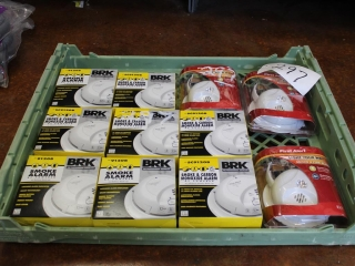 (3)First Alert Smoke/Fire Alarms w/ Battery Included, (8)BRK AC Powered Smoke & Carbon Monoxide Alar