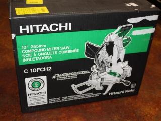 "(1) Hitachi 10"" 255mm Compound Miter Saw Model C 10FCH2"