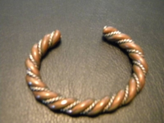 Copper Bracelet with Sterling Silver Inlay