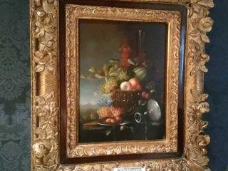 F. Brldgeman Still Life, oil on board, gold tone
