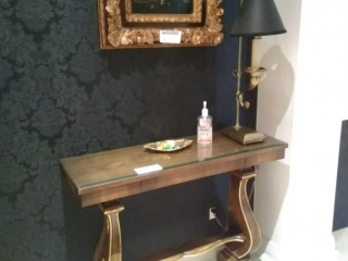 Single drawer wall table with gorgeous accent base