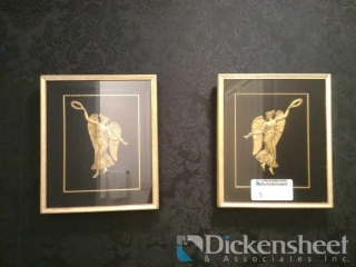 (2) Angel themed gold tone framed pictures,