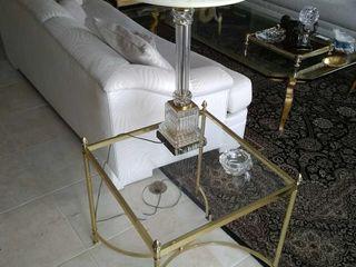 (2) Brass tone glass top side