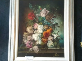 Heinrich Gerossa, Swiss, framed Floral Still Life