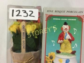 2 pc - Flower Pot Gift & Musical Clown Figurine